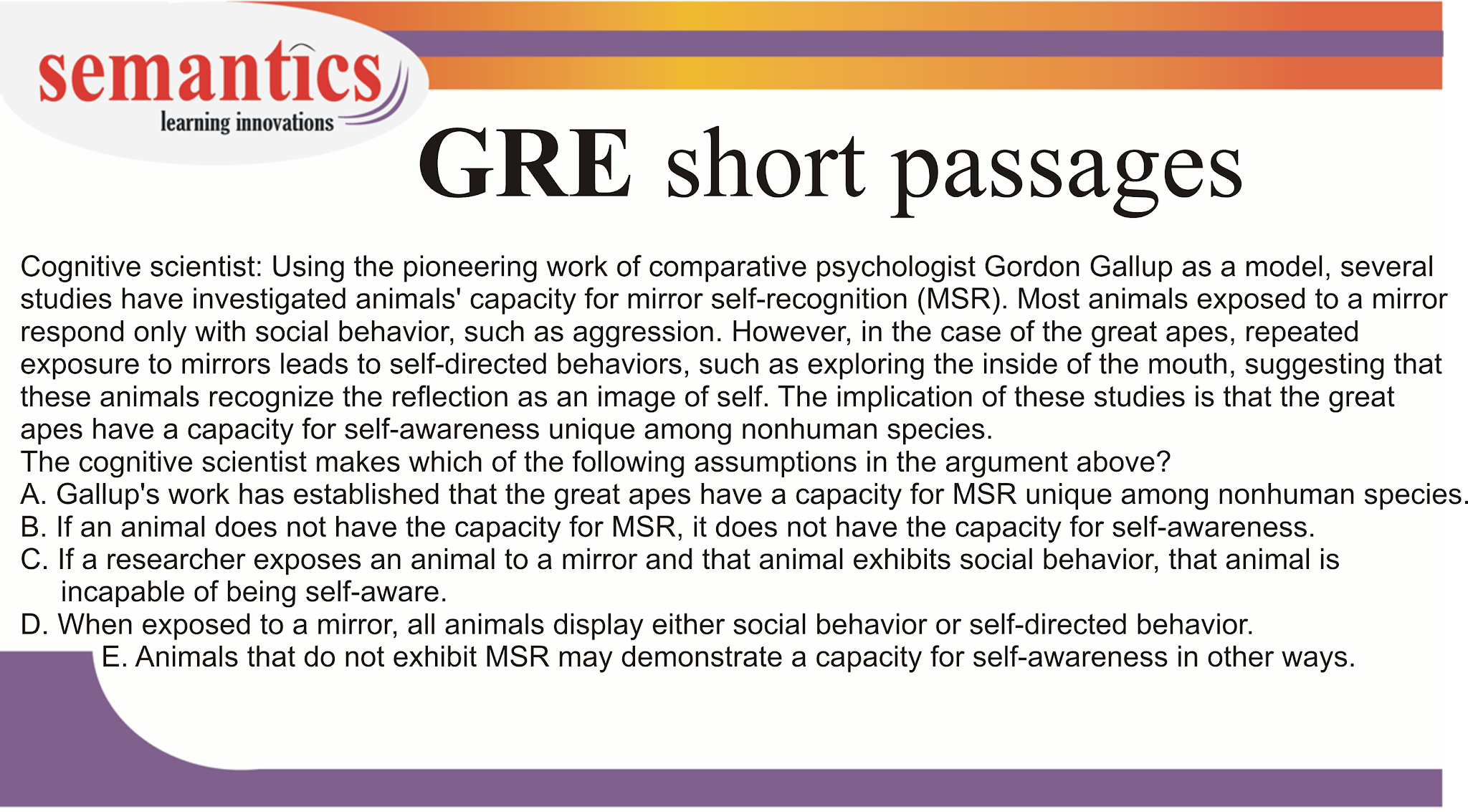 GRE verbal, GRE passages